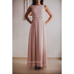 0262ee276b Długa szyfonowa sukienka na wesele z koronką w... - Sukienki ...