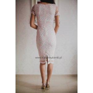 e5bc964409 Biało różowa koronkowa sukienka ołówkowa midi... - Sukienki ...