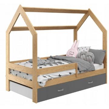 Dziecięce łóżko Sosnowe Drewniane W Kształcie Domku 160x80cm Dla Chłopca I Dziewczynki Szuflada Mat